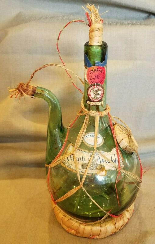 Vintage Italian Chianti Wine Bottle Green Glass In Wicker Wrap With Ice Chamber
