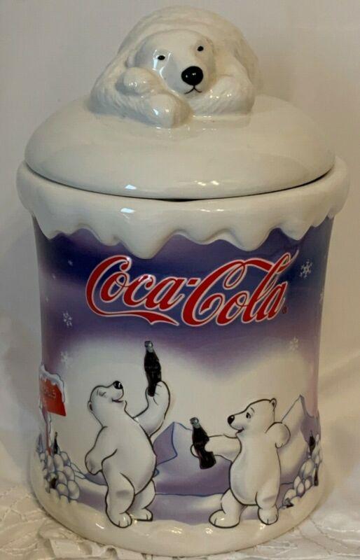 Coca-Cola Polar Bear Cookie Jar or Pet Treat Canister 2002 Houston Harvest EUC