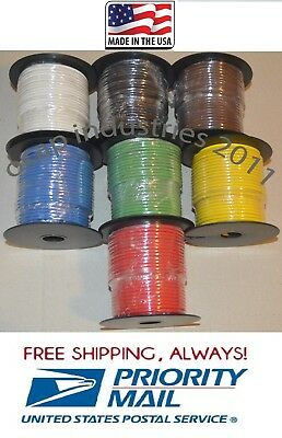 16 ga. 100' X 7 ROLLS = 700' PRIMARY AUTOMOTIVE WIRE COPPER STRANDED MADE IN US