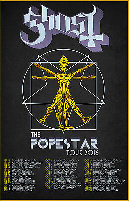 "GHOST ""POPESTAR TOUR 2016"" CONCERT POSTER - Heavy/Doom Metal Music"
