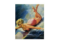 Pin Up Girl Poster 11x17 blonde red swimsuit surfer surf surfing retro