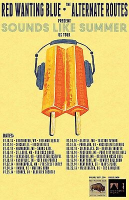 """RED WANTING BLUE/ALTERNATE ROUTES""""SOUNDS LIKE SUMMER US TOUR""""2016 CONCERT POSTER"""
