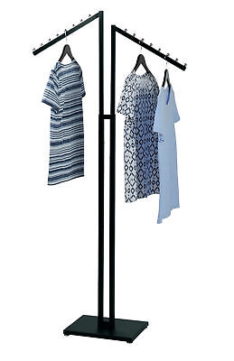 Clothing Rack Two 2 Way Slant Arms Clothes Garment Retail Display Black 72