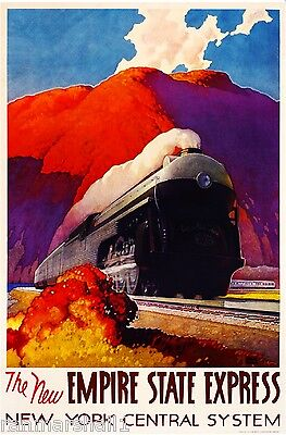 POSTER HIGHLANDS OF THE HUDSON NEW YORK TRAIN TRAVEL VINTAGE REPRO FREE S//H