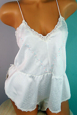 VTG Beth Michaels White Embroidered Lace Trim Teddy Romper Lingerie slip sz S