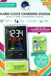 La Crosse Technology Alarm Clock Charging Station with 2 USB Charging Ports