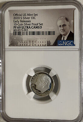 2020 S Silver Proof Mint Set Dime 10c NGC PF69 UC Early Releases Roosevelt Label Mint Set Roosevelt Dime