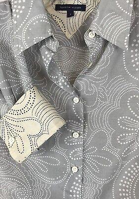 Tommy Hilfiger 4 Silk Cotton Floral Flip Cuff Button Down Blouse Shirt Top v1