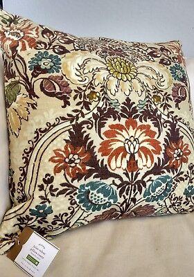 Pottery Barn Jules Velvet Jewel Toned Flowers Sofa Bed Pillow Cover 20