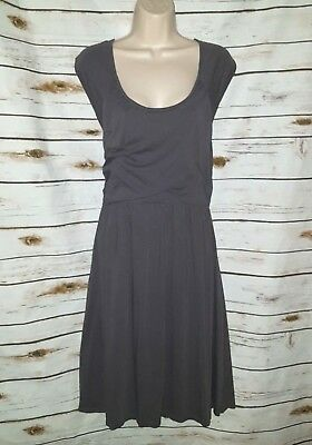 Garnet Hill Gray Ruched Dress Knit Modal 16 Cap Sleeve