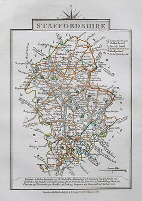 STAFFORDSHIRE 1828 Miniature Antique Map by Cary Hand Coloured