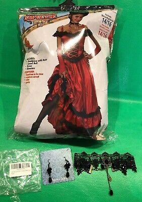 Saloon Sweetie Costume Dress Gloves Red Rose W/Lace Choker/earrings Wild Western (Western Saloon Costume)
