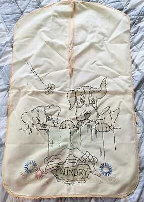 1940s Handbags and Purses History Vintage 1940s Hand Embroidered Dog Art Deco Laundry Bag Linen Textile Clothespin $24.99 AT vintagedancer.com