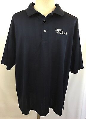 Ping Collection Stifel Nicolaus Golf Shirt Size 2X Navy Blue Polo Mens Dry Fiber