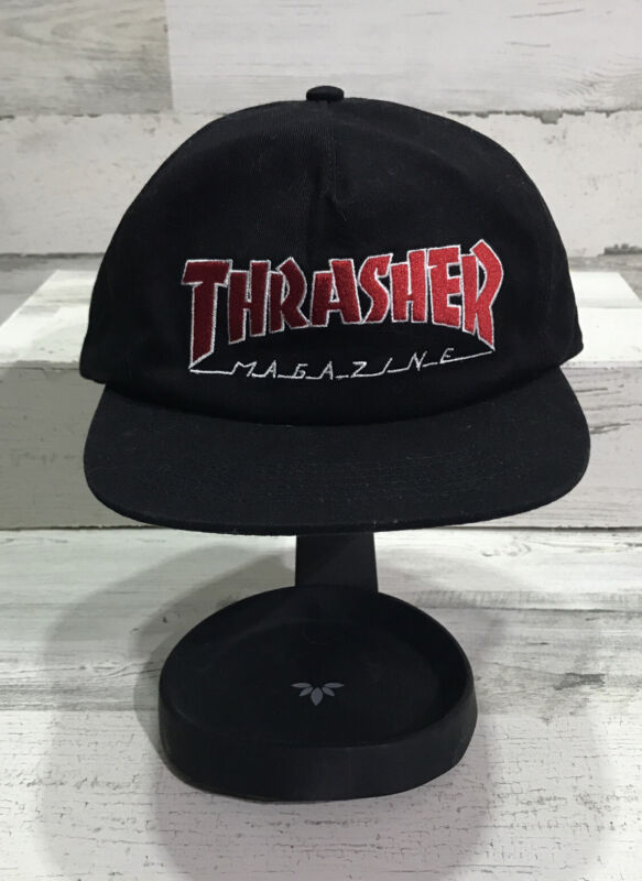Thrasher Magazine OUTLINED LOGO UNSTRUCTURED Snapback Skateboard Hat BLACK/RED