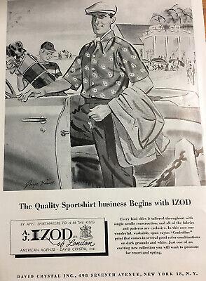 Vintage 1952 Fashion Trade Ad Men's IZOD Golf Sports Shirt Print Advertising