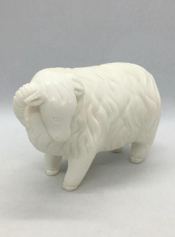 "Italian milky white Alabaster Carved Statue Figurine - Ram , Lamb Heavy 3-1/4"""