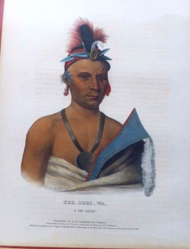 KEE-SHE-WA. Original Lithograph. Fox Chief. McKenney & Hall Folio. 1838