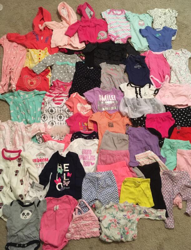 Baby Girls Clothes Shirts Pants Sleepers Lot 61 Pcs Sz 0- 3m Onesies Gerber