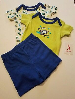 NWT INFANT BOY 3 PC SUMMER OUTFIT SWIGGLES BLAST OFF ROCKETS ROBOTS GREEN & BLUE
