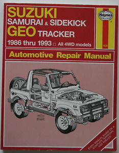 Suzuki Samurai Sidekick GEO Tracker 1986-1933 Repair Manual