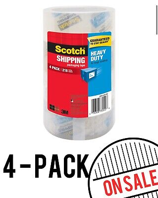 Scotch 1.88 In. X 54.6 Yds. Heavy Duty Shipping Packaging Tape 4-pack Usa