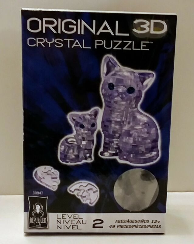 Bepuzzled Original 3D Crystal Puzzle Cat Kitten Brain Teaser Toy 49 Pcs Level 2