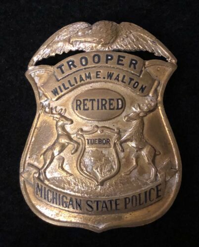 Michigan MI State Police Highway Patrol Badge - Weyhing Bros Retired Great Wear
