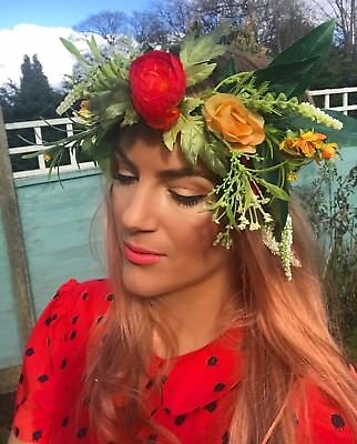 Tropical Red Green Orange Wild Flower Succulent Crown Hair Head Band Choochie ()