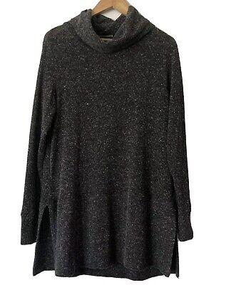 Womens FLAX Gray Mock Neck Long Sleeve Tunic Top Shirt Size M/L Mock Neck Tunic Top