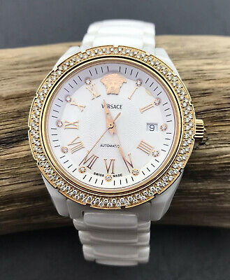 Versace DV White Ceramic Diamond Bezel Rose Gold Chronograph Watch RRP £3250
