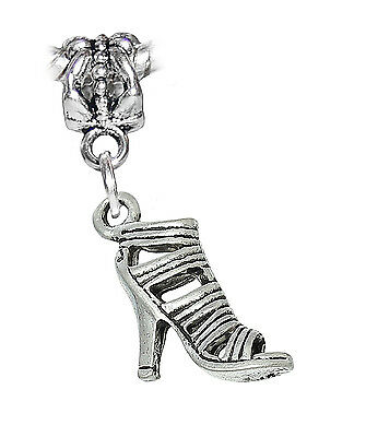 High Heel Shoe Strappy Sandal Clothes Dangle Charm for Silver European Bracelets