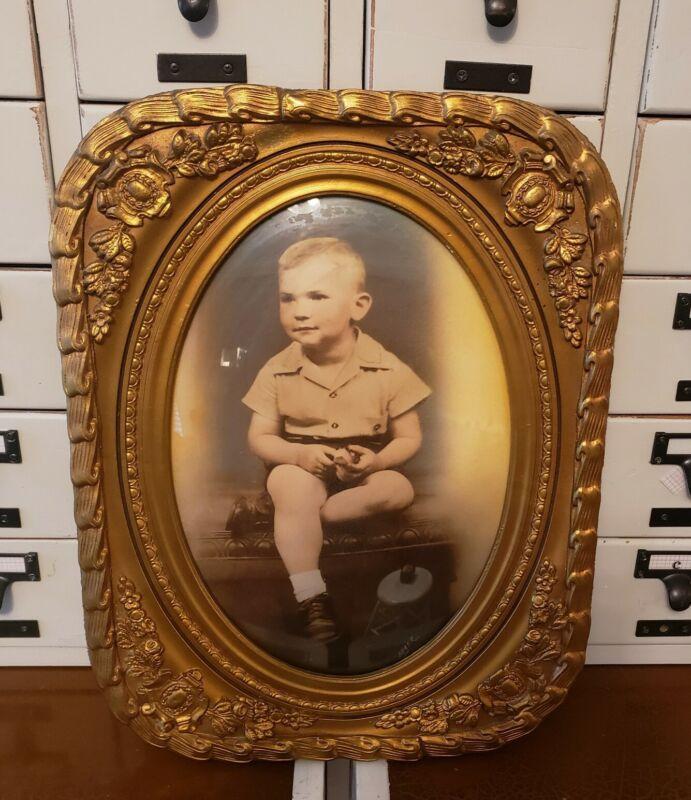 Vintage Antique Victorian Wood Gold Gesso Ornate Frame Boy Portrait Convex