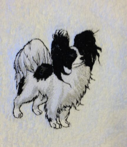 Papillon, Hand Towel, Embroidered, Custom, Personalized, Dog, Black and White