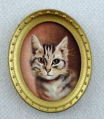 Melody Jane Dolls House Miniature Cat Portrait Picture Painting in Gold Frame