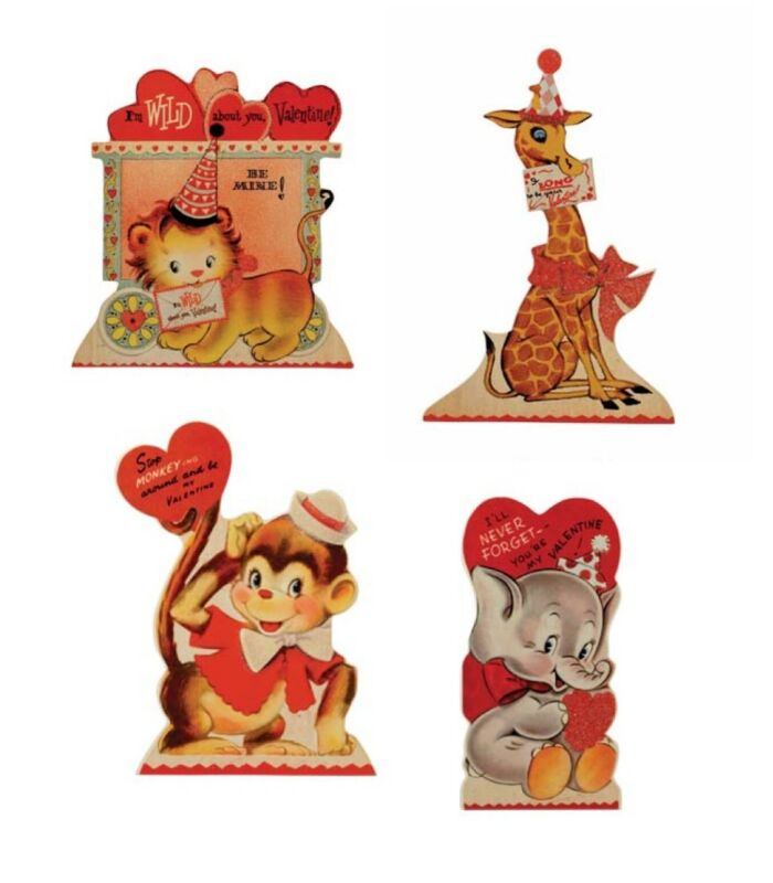Bethany Lowe Valentines Day Wild About You Dummy Boards Retro Animals Set/4