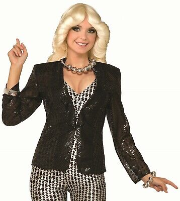 Women's Jazz Disco Black Sequin Blazer Jacket Costume Accessory Hip Hop Dancer