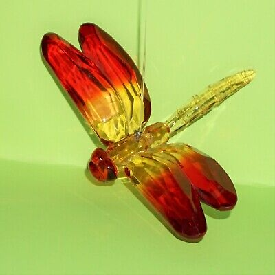 Ganz Crystal Expressions Two-Toned Dragonfly Red Orange Hanging Sun Catcher NEW