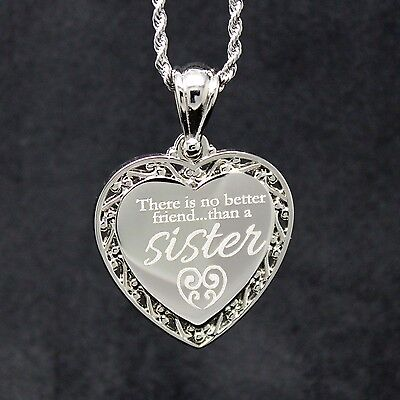 Sisters My Best Friend Necklace   Engrave Personal Message On The Back