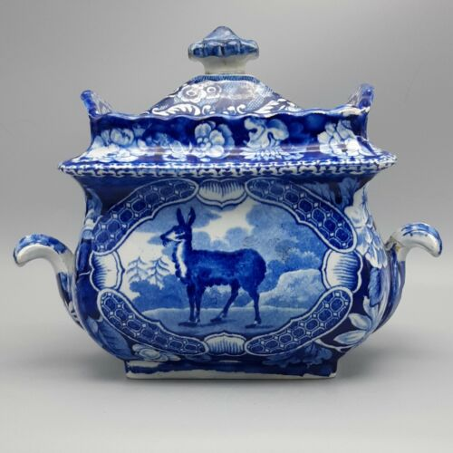 "19th C. Staffordshire Transferware Sugar Bowl – ""Tibetian Musk Deer"" Pattern"