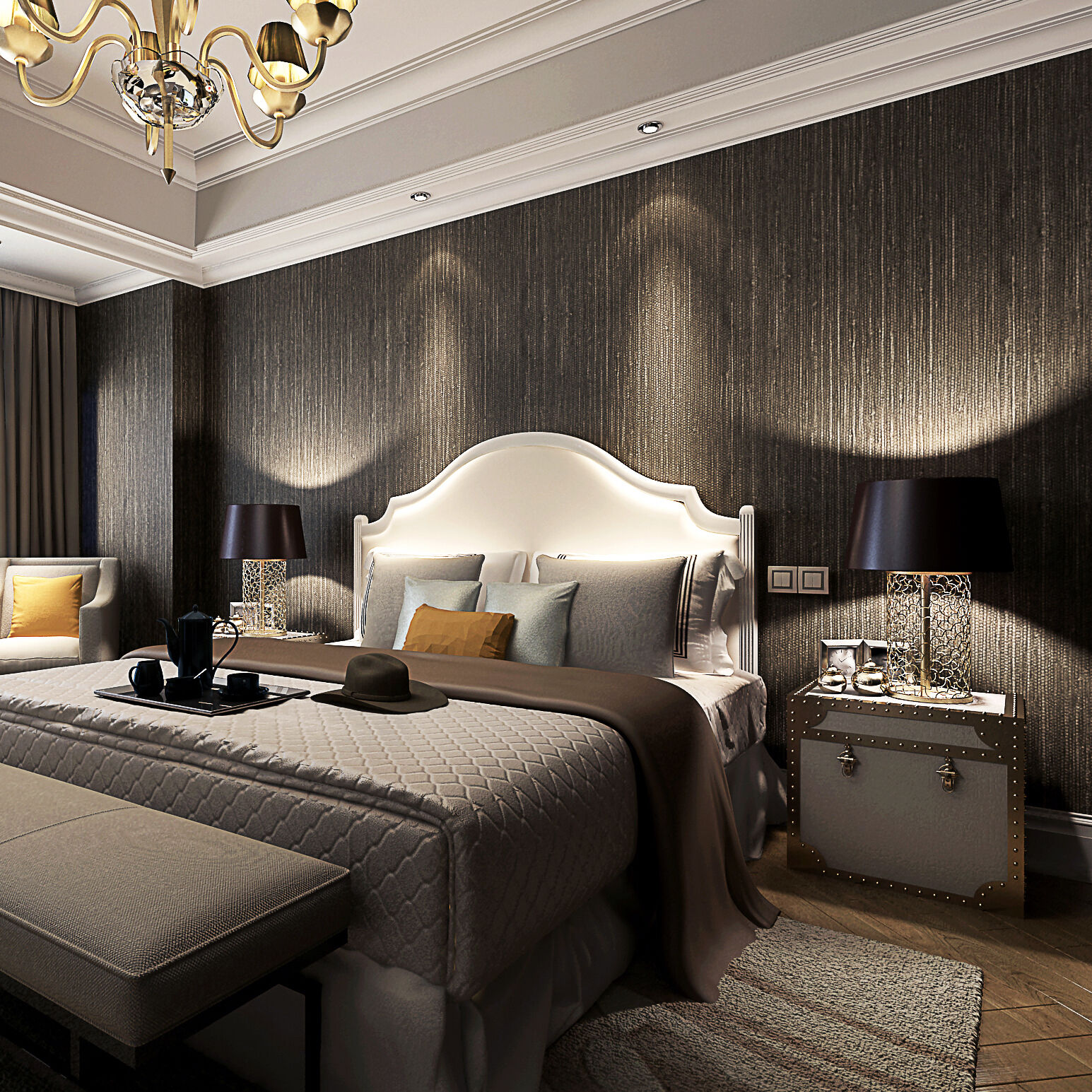 Rooms With Grasscloth Wallpaper: Metallic Faux Grasscloth Wallpaper Dark Brown Vinyl