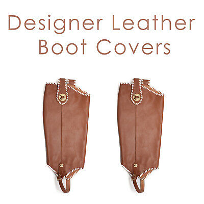 Women's Brown Genuine Leather Boot Covers With White Trim Gold Button Western  - Brown Boot Covers