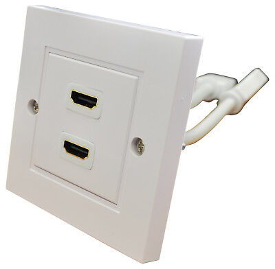 Twin HDMI Socket with 2 x Leads - Single Gang White Wall Plate / Face Plate