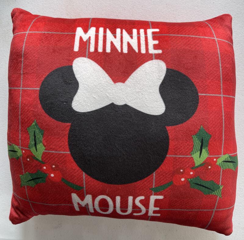 Christmas Disney Plaid Throw Pillow Plush Minnie Mouse Decorative  11 x 11