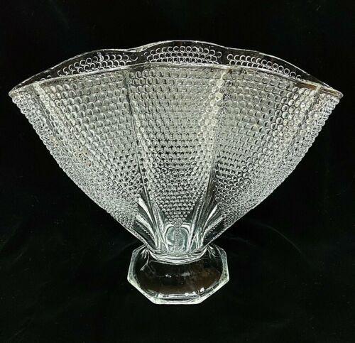 "L.E. Smith Glass Fan Vase Hobnail Thousand 1000 Eye Ruffled Clear Vintage 8"""