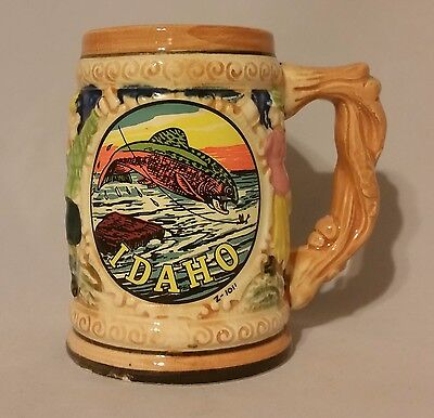 Vintage Idaho State Souvenir Tourist Mug Fishing Fish Cup Japan 1960's