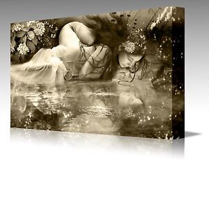 ANGEL IN SEPIA WATER REFLECTION A2 Modern Framed Canvas Art Picture Print