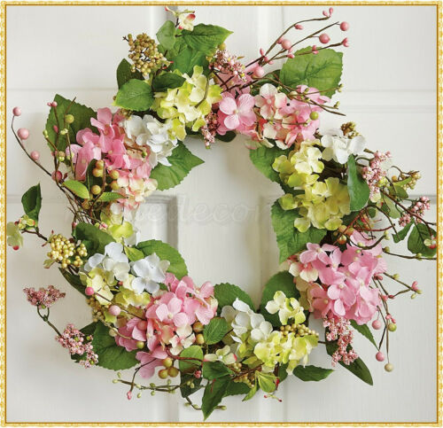 Spring Hydrangea Floral Wreath Easter Greenery Berries Hanging Wall Door Decor