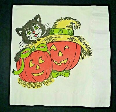 Vintage *UNUSED* Halloween Napkin: Jack-O-Lanterns, Black Cat *1960's Graphics*