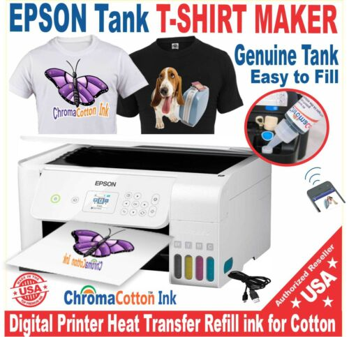 EPSON PRINTER SUPER TANK T-SHIRT MAKER COTTON INK + HEAT TRANSFER START KIT